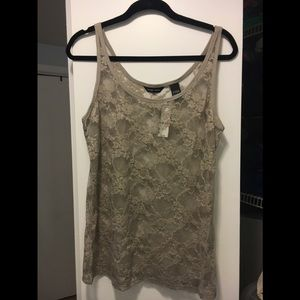 New York & Company beige lace tank XL